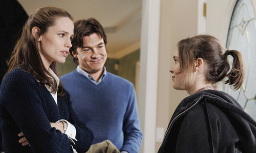 Juno (Ellen Page) with the potential adopters of her baby, Veronica (Jennifer Garner) and Mark (Jason Bateman)