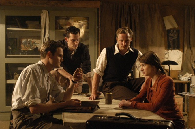 Julia Jentsch as Sophie Scholl with her brother Hans and other members of the White Rose group.