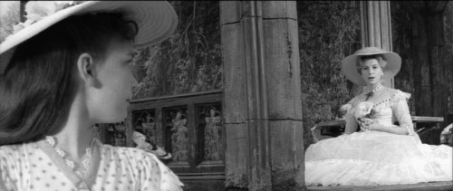 Pamela Franklin (Flora) and Deborah Kerr (Miss Giddens) in the folly by the lake in The Innocents – an example of foreground and background both in focus.