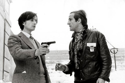 Léaud and Truffaut in La nuit americaine