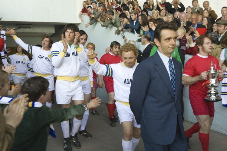 Brian Clough (Michael Sheen) leads out Leeds Utd at the 1974 Charity Cup