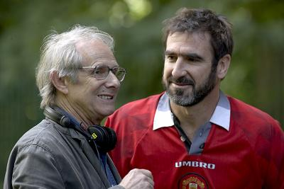 Ken Loach and Eric Cantona working on 'Looking for Eric'
