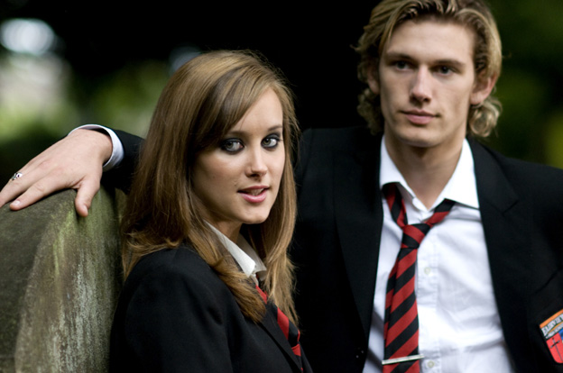 Tasha (April Pearson) and Bradley (Alex Pettyfer), photo © Nick Wall
