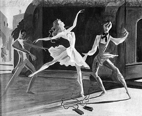 One of Hein Heckroth's sketches for The Red Shoes ballet.