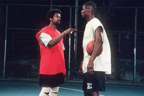 Denzel Washington and Ray Allen as Jake and Jesus Shuttlesworth.