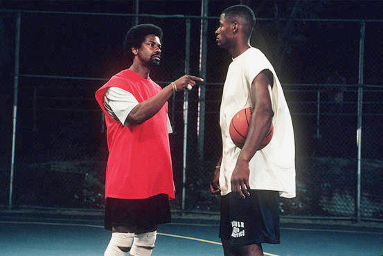 Denzel Washington and Ray Allen as Jake and Jesus Shuttlesworth.