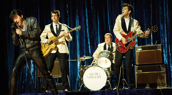 Carl Barât as Gene Vincent with the Outlaws/Tornados (Ralf Little, James Corden and Mathew Baynton