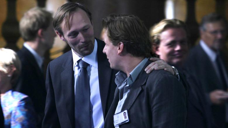 Lars Mikkelsen (left) as the spin doctor feeding the naive Ulrik (Anders W. Berthelsen)