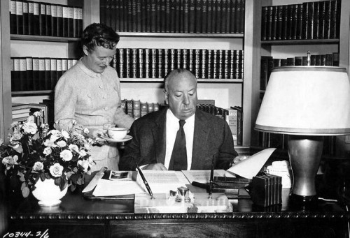 Alma Reville and Alfred Hitchcock at home in what looks like the 1960s. (image from: http://acertaincinema.com/media-tags/alma-reville/)
