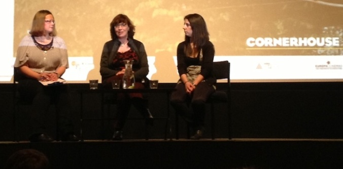 (from left) Cornerhouse Film Programme Manager Rachel Hayward, Patricia Ferreira and an interpreter (sorry, I didn't catch the name)