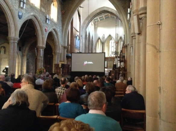 Waiting for the YFA screenings at Bradford Cathedral to start.
