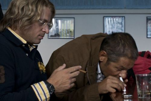 Rene Bitorajac (left) as the gynaecologist with one of his drug-dealing police friends