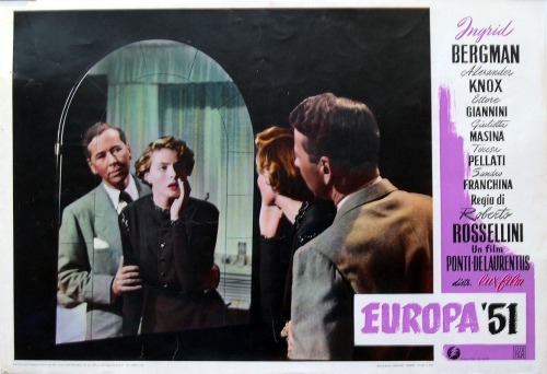 The Italian poster for the film emphasises the conventional melodrama device in which the woman looks into the mirror, creating two versions of herself.
