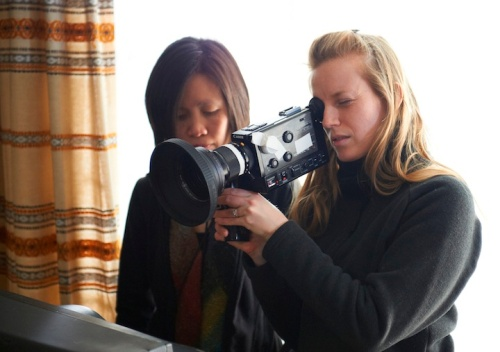Sarah Polley (right) with cinematographer Iris Ng. Image from National Film Board of Canada, Ken Woroner.