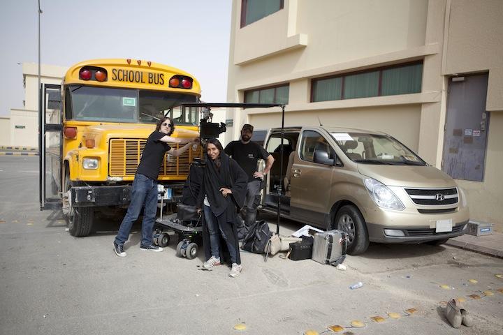 Director Haifaa Al Mansour  on the shoot with her crew. Photo by Tobias Kownatzki © Razor Film