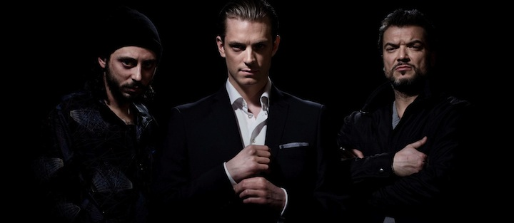 The three principal characters (from left) Jorge, Johan and Mrado
