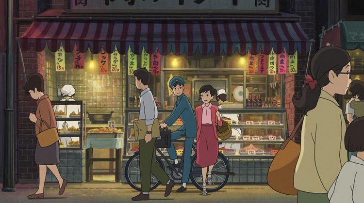 The beautifully-drawn streets of Yokahama with Sun and Umi on the bicycle