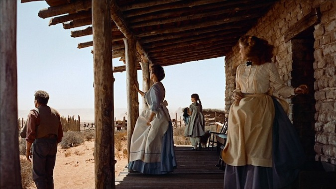 The classic tableau shot of the Edwards family at the beginning of The Searchers.