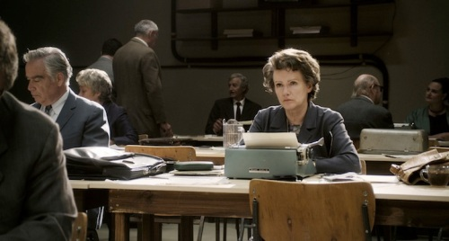 Barbara Sukowa as Hannah Arendt covering the Eichmann trial in Jerusalem.