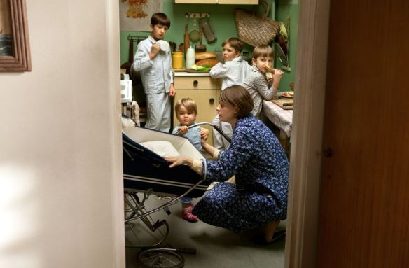Danuta Walesa at home in the family's tiny flat with the Walesa children.