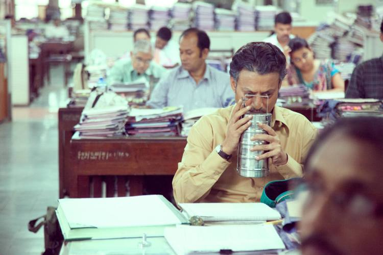 Saajan (Irrfan Khan) inhales the aroma of his dabba.
