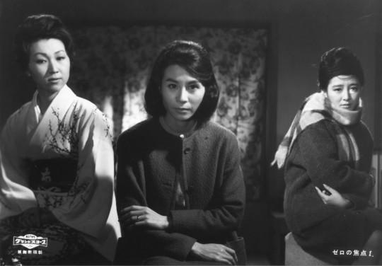 The three women at the centre of ZERO FOCUS in a promo pic, (from left) , Takachiho Hizuru as Sachiko, Kuga Yoshiko as Teiko and Arima Ineko as Hisako