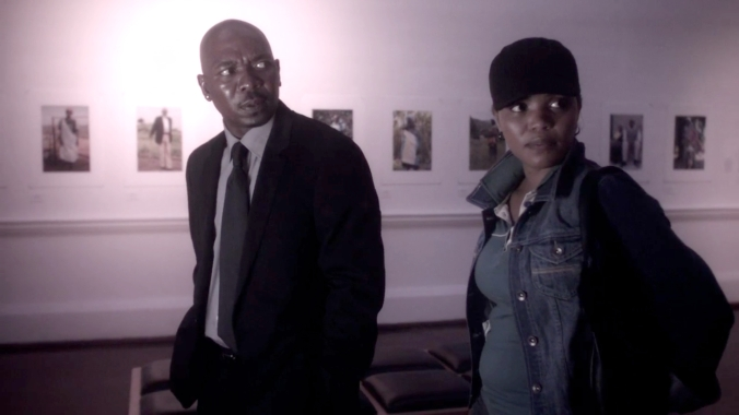 Jack (Menzi Ngubane) and Olive (Terry Pheto) in the gallery. Partly, he wants to show her what he gained from going to the 'third best school in the city'.