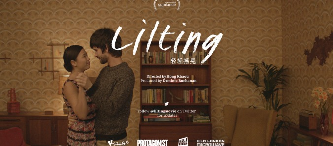 The poster for LILTING. The film is presented in the 2.35 CinemaScope ratio. The image shows Naomi Christie and Ben Wishart in Junn's room. Note also the graphics for the title.