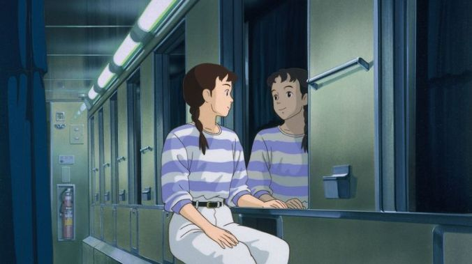 A pensive Taeko on the night train taking her to the country.