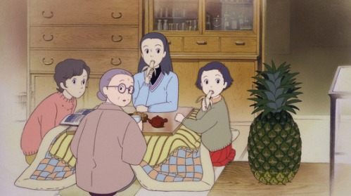 In 1966 a pineapple is still an exotic fruit and the family doesn't know how to serve it.