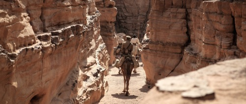 Riding through the narrow dry gorges
