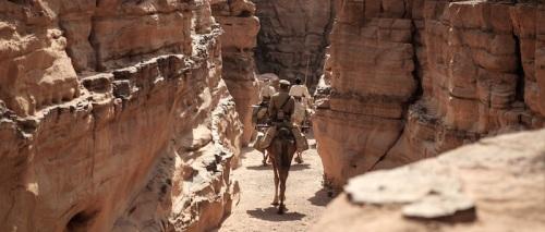 Riding through the narrow dry gorges