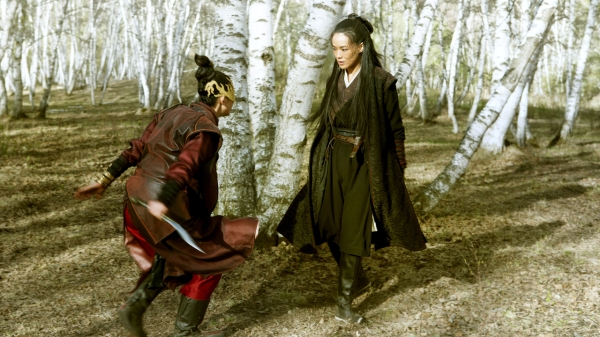 Tian's wife in her gold mask takes on Yinniang