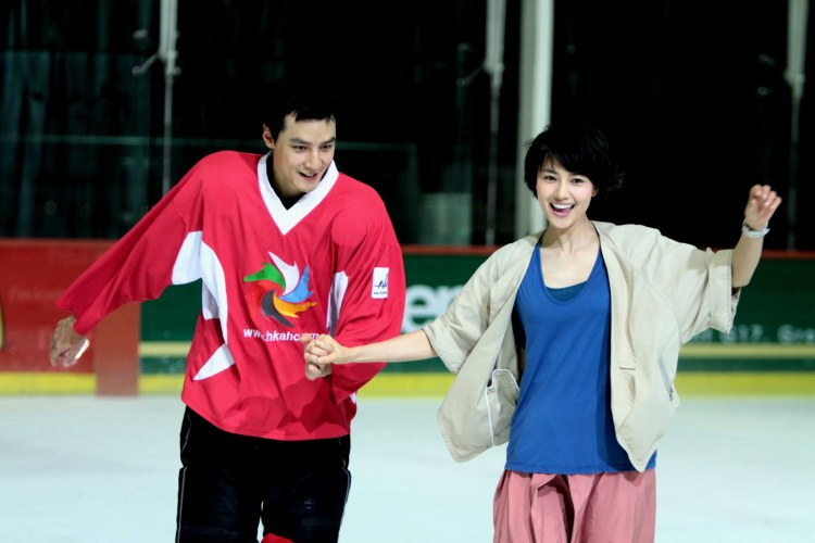 Qihong and Zixin skating (he has lived in Canada and plays ice hockey.